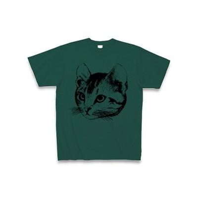 上目遣いの猫 Tシャツ(ディープグリーン)