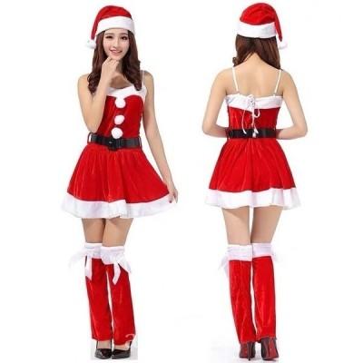 サンタコスプレ3点セット帽子ワンピースレッグウォーマーサンタコスセクシークリスマスwear.com