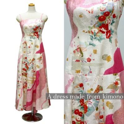 一点物の正絹振袖のドレス【着物ドレス 着物リメイクドレス 和ドレス パーティードレス ステージ衣裳 ワンピース 正絹 日本製 送料無料 9号】
