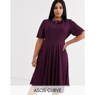 エイソス ASOS Curve レディース ワンピース ミドル丈 ワンピース・ドレス ASOS DESIGN Curve crop top embellished neckline midi dress プラム