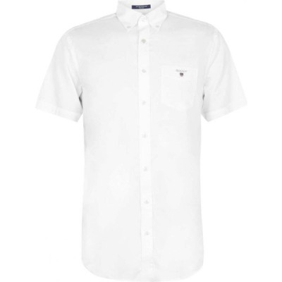 ガント Gant メンズ 半袖シャツ トップス Short Sleeve Broadcloth Shirt White