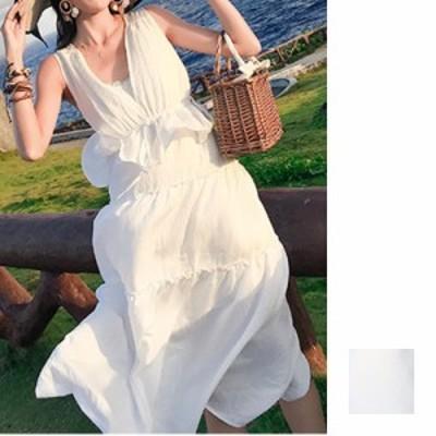 リゾートワンピース ワンピース リゾート 韓国 ファッション  夏 春 カジュアル naloH711  深Vネック バッククロス ペプラム リゾート リ