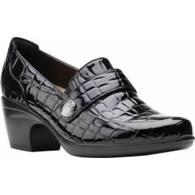 クラークス レディース スリッポン・ローファー シューズ Women's Clarks Emily Andria Heeled Loafer Black Croco Synthetic Patent