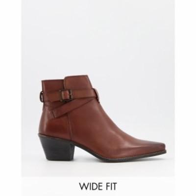 エイソス ASOS DESIGN メンズ ブーツ チェルシーブーツ ウェスタンブーツ Wide Fit Cuban Heel Western Chelsea Boots In Brown Leather