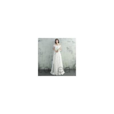 ウェディングドレス二次会花嫁ドレス結婚式ドレスパーティードレスAラインおしゃれシンプル大きいサイズxl2xl袖ありカジュアルロングドレスオフ