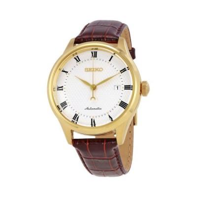 腕時計 セイコー Seiko オートマチック ホワイト ダイヤル ブラウン レザー メンズ 腕時計 SRP770K1