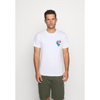 ピアワン メンズ Tシャツ トップス Print T-shirt - white white