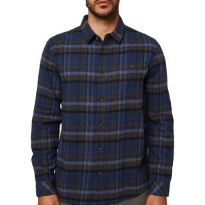 オニール メンズ シャツ トップス O'Neill Men's Redmond Flannel Shirt Navy