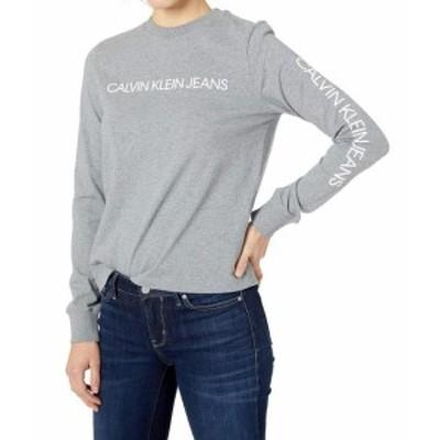 Calvin Klein カルバンクライン ファッション トップス Calvin Klein Womens Gray Size Small S Logo Print Crewneck Sweatshirt