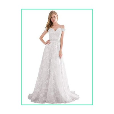 White Simple Wedding Dresses for Women Bride 2020 Off Shoulder A Line Beaded Long Bridal Party Gown並行輸入品
