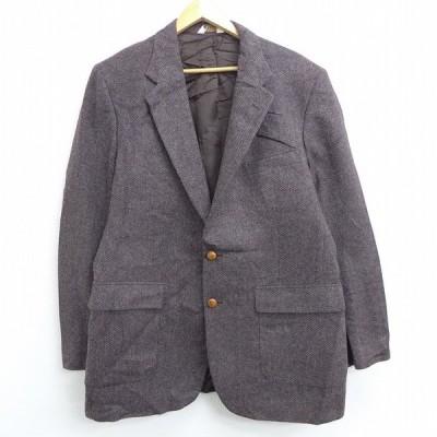 L/古着 長袖 テーラード ジャケット 90s ヒジ当て スエード使用 ロング丈 ウール 茶他 ブラウン 20dec15 中古 メンズ アウター