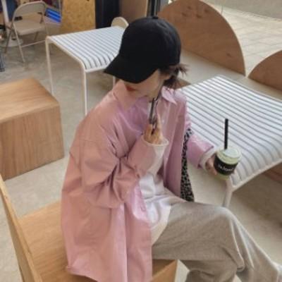 オーバーサイズ シャツ ピンク シャーベットカラー レディース ファッション 韓国 オルチャン