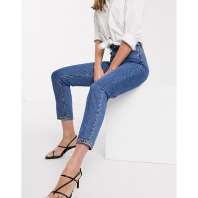 ヴェロモーダ レディース デニムパンツ ボトムス Vero Moda mom jeans with high waist in medium blue