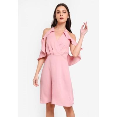 ザローラ Zalora レディース パーティードレス ワンピース・ドレス Cold Shoulder Bare Back Fit & Flare Dress Dusty Pink