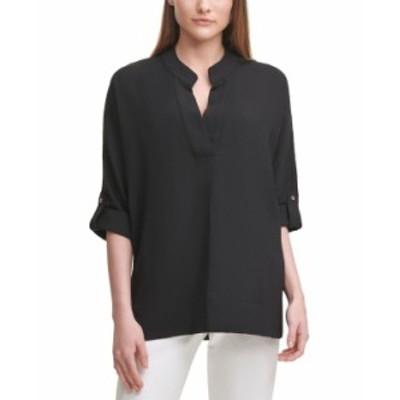 カルバンクライン レディース シャツ トップス Puckered V-Neck Shirt Black