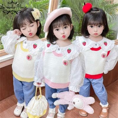 韓国こども服 フォーマル シャツ ニット パンツ ベスト 上下 セットアップ 長袖 女の子 子ども 3点セット お嬢様風 子供服 パンツセット 80 90 100 110 120cm