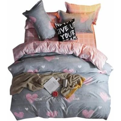 敷き布団カバーセット ダブル4点セット 掛け布団カバーセット 枕カバー 寝具カバーセット 北欧風 肌にやさしい 四季通用 高密