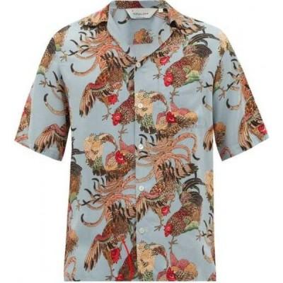 ニポアロハ Nipoaloha メンズ 半袖シャツ トップス Gamecock printed poplin shirt Light blue