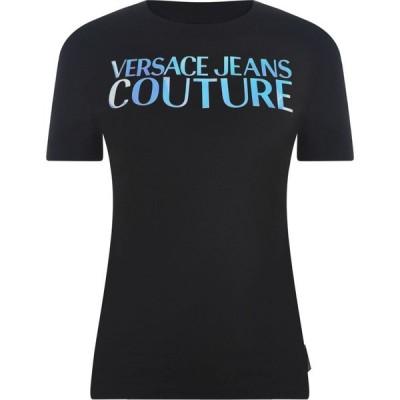 ヴェルサーチ VERSACE JEANS COUTURE レディース Tシャツ ロゴTシャツ トップス Mirror Logo T Shirt Blk.Slv
