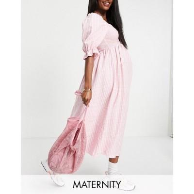ニュールック New Look Maternity レディース ワンピース ミドル丈 ワンピース・ドレス 3/4 sleeve gingham textured shirred midi dress in pink ピンク