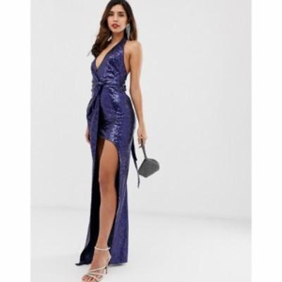 シティゴッデス City Goddess レディース ワンピース マキシ丈 ワンピース・ドレス Extreme Split All Over Sequin Maxi Dress ネイビー