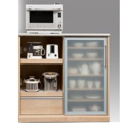幅120cmキッチンカウンターコンセント付きスライドトレー2段×食器棚キッチンボードミドルレンジボードレンジ台ナチュラル