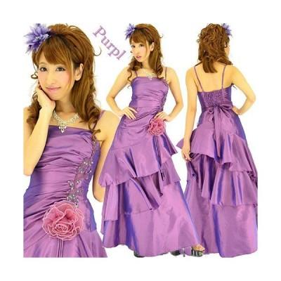 スリムライン3段フリルロングドレス