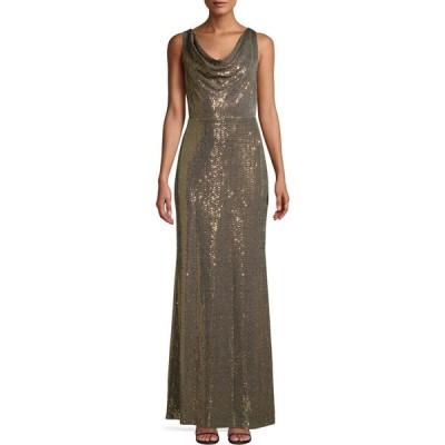 カルバンクライン Calvin Klein レディース パーティードレス ワンピース・ドレス sequined cowlneck gown ゴールド