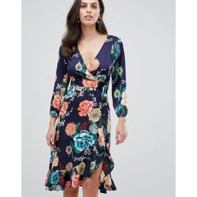 リクオリッシュ レディース ワンピース トップス Liquorish wrap midi dress in floral print Navy floral