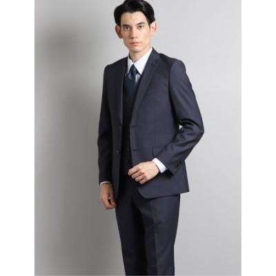 光沢スリムフィット2ボタン3ピーススーツ オーバーペン紺