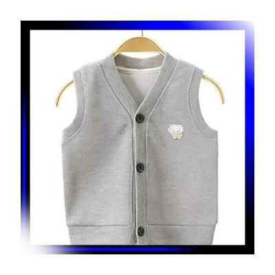 グレー/90 ベビーベスト 子供服 ベスト 女の子 赤ちゃん ニット