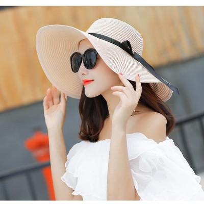麦わら帽子 レディース 折たたみ つば広 ハット uvカット おしゃれ 細リボン 帽子 6色