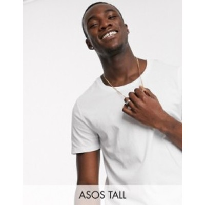エイソス メンズ Tシャツ トップス ASOS DESIGN Tall t-shirt with scoop neck in white White