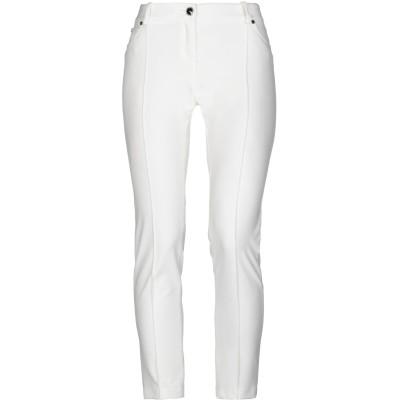ELISABETTA FRANCHI パンツ ホワイト 46 ナイロン 88% / ポリウレタン 12% / 金属 / 牛革 パンツ