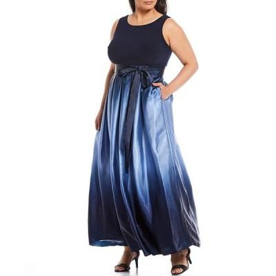 イグナイト レディース ワンピース トップス Plus Size Ombre Satin Tie Waist Sleeveless Long Party Dress