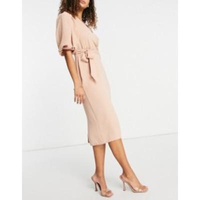 エイソス レディース ワンピース トップス ASOS DESIGN wrap front midi dress with tie waist in pink Pink