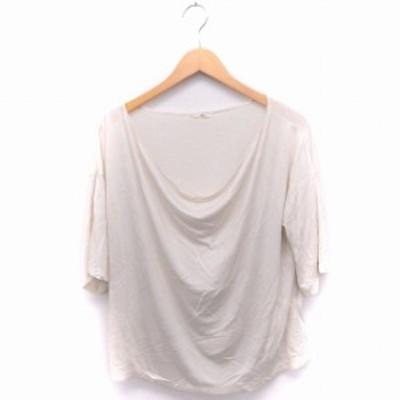 【中古】シップス SHIPS Tシャツ カットソー ドレープ 五分袖 無地 シンプル オフホワイト 白 /FT33 レディース