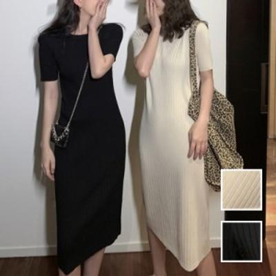 韓国 ファッション レディース ワンピース 春 夏 カジュアル naloK488  リブ カットソー ゆるタイト ベーシック 着回し シンプル コーデ