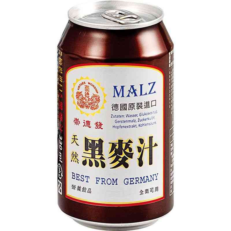 崇德發天然黑麥汁Can330ml