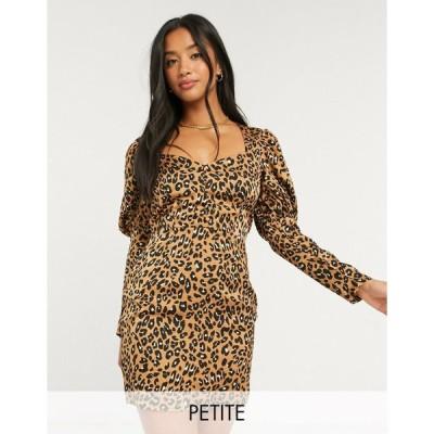 アウトレイジャスフォーチュン ミディドレス レディース Outrageous Fortune Petite puff sleeve mini dress in leopard print エイソス ASOS sale マルチカラー