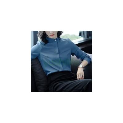 ブラウス レディース ワイシャツ Yシャツ ゆったり 長袖 無地 折り襟 前開き ボタン 薄手 オフィス OL 通勤 ビジネス スーツインナー
