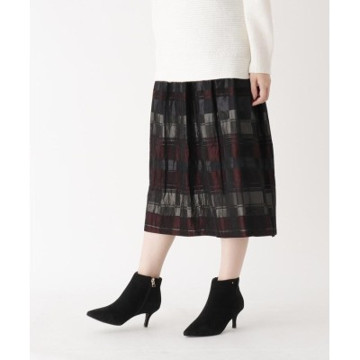 CORDIER(コルディア) ワイドチェックギャザーミモレ丈スカート