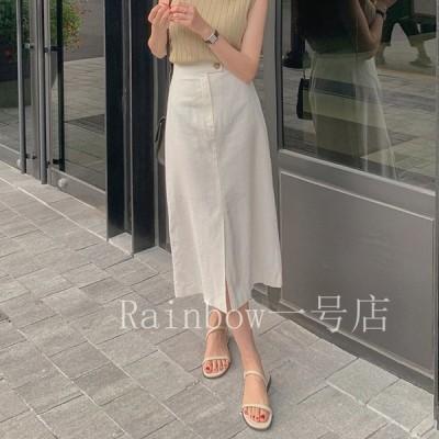 スカート レディース Aライン 白 フロントスリット リネン リネンスカート 韓国ファッション