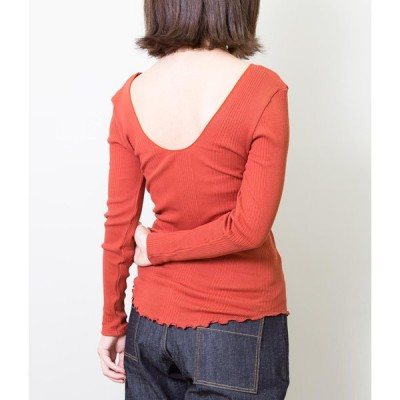 HAKUJI ハクジRANDOM RIB L/S PO COTTON SILK TOPS (ORANGE)