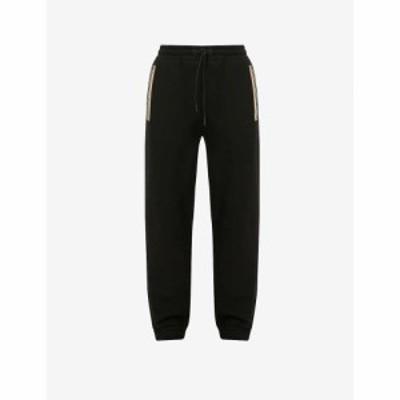 バーバリー BURBERRY メンズ スウェット・ジャージ ボトムス・パンツ Lexington contrast-stripe cotton-jersey jogging bottoms BLACK