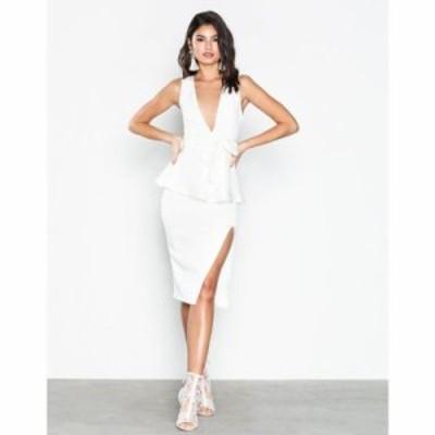 ミスガイデッド ボディコンドレス crepe peplum midi dress White