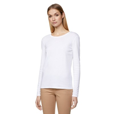 (BENETTON (women)/ベネトン レディース)ループロゴUネック長袖Tシャツ・カットソー/レディース ホワイト