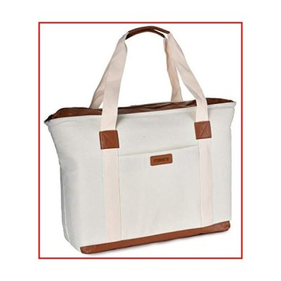 断熱性 食料品バッグ 上部ファスナー付き - 保温性 再利用可能 キャンバス ショッピングトート 食料品用 - 旅行