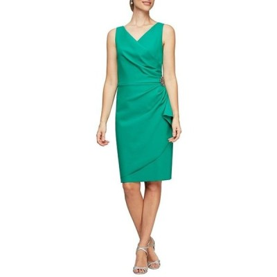 アレックスイブニングス レディース ワンピース トップス V-Neck Sleeveless Ruched Sheath Dress