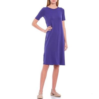 エイリーンフィッシャー レディース ワンピース トップス Petite Size Fine Tencel Jersey Round Neck Short Sleeve Midi Shift Dress
